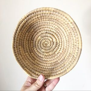 Vintage Wicker Coiled Basket Bowl Boho Decor